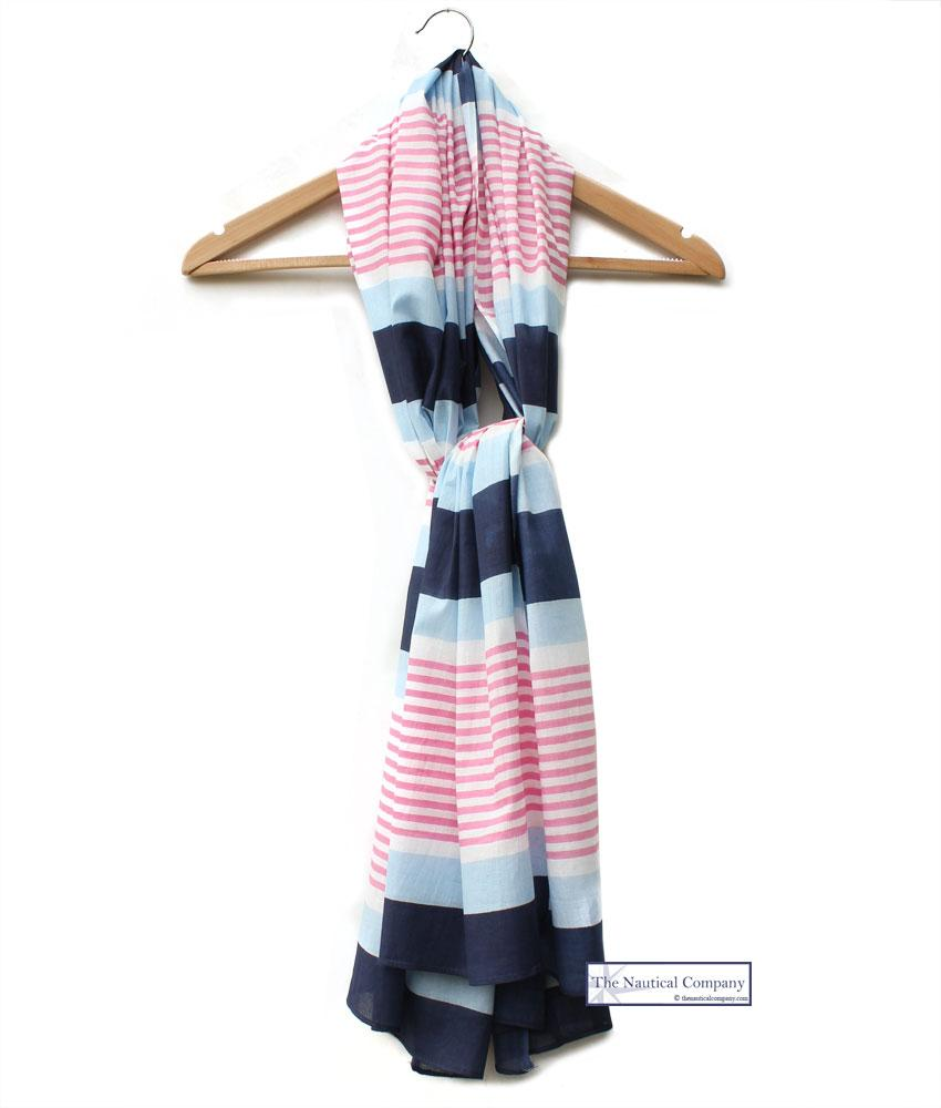 Multi Striped Cotton Scarf (blues, pink, white) - Summer Seaside Outfit