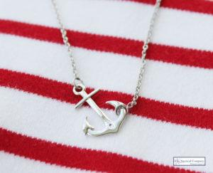 Sterling Silver Anchor Necklace - Summer Seaside Outfit