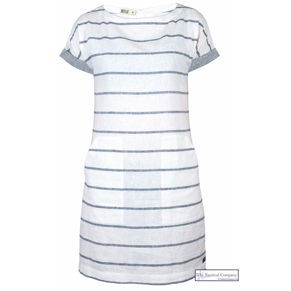 Women's Short Sleeve Linen Dress, Stripy White - Summer Seaside Outfit