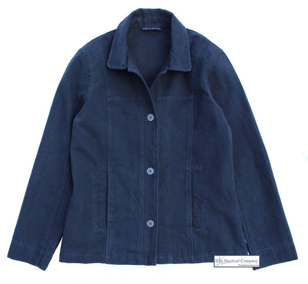 Women's Cotton Jacket, Navy Blue - Summer Seaside Outfit