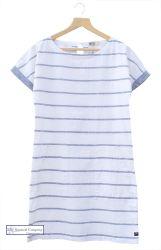 Women's Short Sleeve Linen Dress, Stripy White