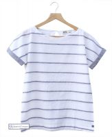Women's Short Sleeve Linen Top, White/Navy Grey
