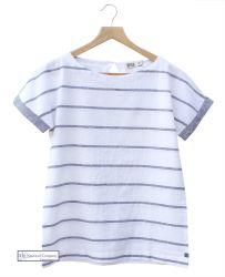 Women's Short Sleeve Linen Top, White (only UK 10 - US 6 left)