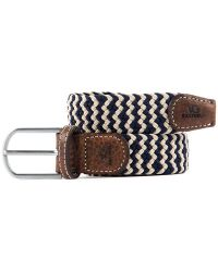 Woven Elastic and Leather Belt - Navy/Beige