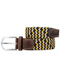 Woven Elastic and Leather Belt - Navy/White/Yellow