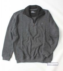 Mens' Two Faced Quarter Zip V Neck Sweater, Charcoal Grey