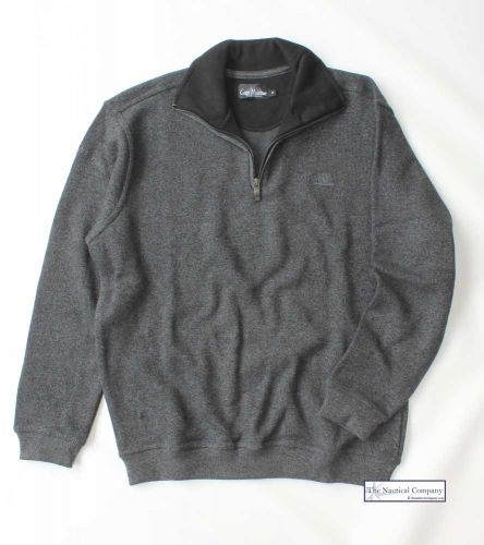 Men's Two Faced Quarter Zip V Neck Sweater, Charcoal Grey