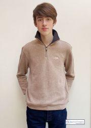 Men's Zip Neck Ribbed Knit Sweatshirt, Oatmeal