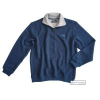 Men's Zip Neck Ribbed Knit Sweatshirt, Denim Blue