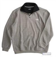 Mens' Two Faced Quarter Zip V Neck Sweater, Light Grey