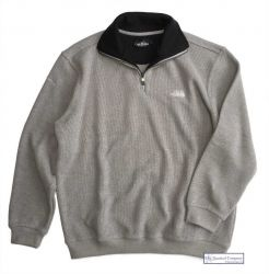 Mens' Two Faced Quarter Zip V Neck Sweater, Light Grey