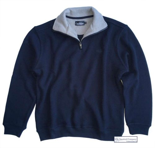 Men's Zip Neck Ribbed Knit Fleece Sweater, Navy Blue