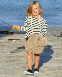 Children's Breton Top, Cream with Navy Stripes, heavyweight