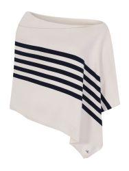 Diagonal Striped Poncho, Cream/Navy Blue