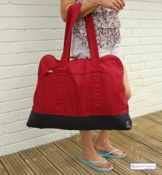 Large Zip Beach Bag, Chilli Red