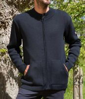 Men's Funnel Neck Full Zip Cardigan, Navy Blue