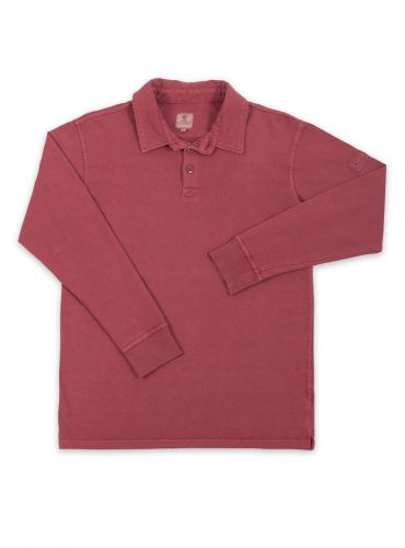 Men's Long Sleeved Polo Shirt, Brick