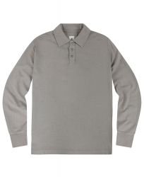 Men's Long Sleeved Polo Shirt, Stone