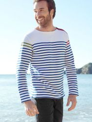 Nautical Men's Breton Shirt - White/Navy