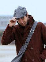Waxed Cotton Flat Cap Hat, Grey