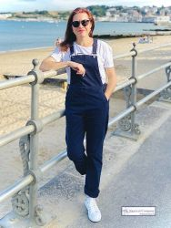 Women's Cotton Dungaree, Navy Blue