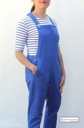 Women's Cotton Dungaree, Cobalt Blue