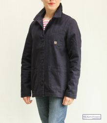 Women's French Work Jacket, Navy Blue