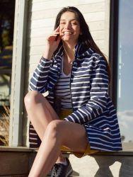 Women's Nautical Striped Raincoat