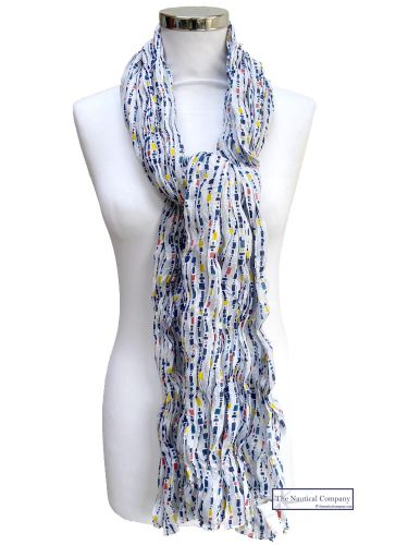 Women Cotton Scarf, White, Fishing Floats