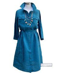 Linen Belted Shirt Dress, Teal Blue
