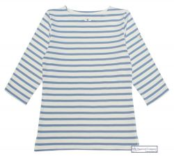 3/4 Sleeve Stripe Top, Cream/Cornflower Blue