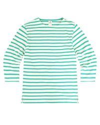 3/4 Sleeve Stripe Top, Cream/Green