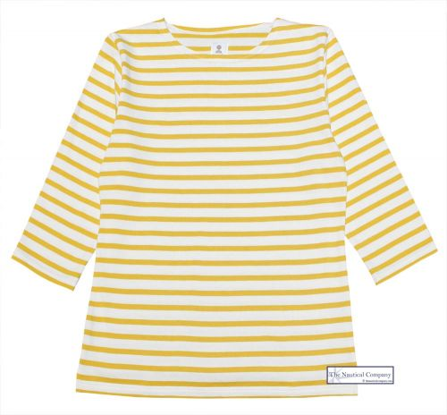 3/4 Sleeve Stripe Top, Cream/Yellow Mustard