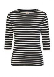 3/4 Sleeve Stripe Top, Navy Blue/Cream