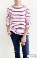Women's Striped Breton Top, Lightweight, Long Sleeves, White/Red