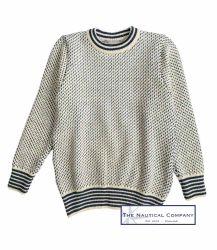 Nordic Crew Neck Sweater, Cream/Blue