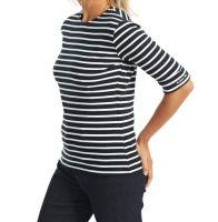 Elbow Sleeve Breton Top, Dark Navy/White