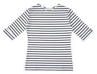 Elbow Sleeve Breton Top, White/Navy Blue