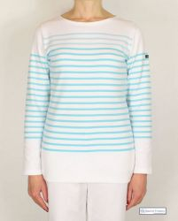 Stripe Breton Top, White/Aquamarine