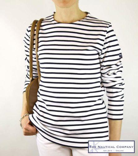 Art Décor: Women's White/Navy Blue Breton Top For Ladies Armor Lux