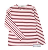 Women's White & Red Stripe Breton Top (Heavyweight)