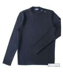 Men's Breton Sweater, Navy, Wool Mix