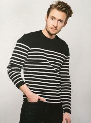 Men's Stripe Breton Sweater, Navy/Off White, Wool Mix