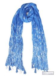 Coastal Tassel Scarf, Blue/White