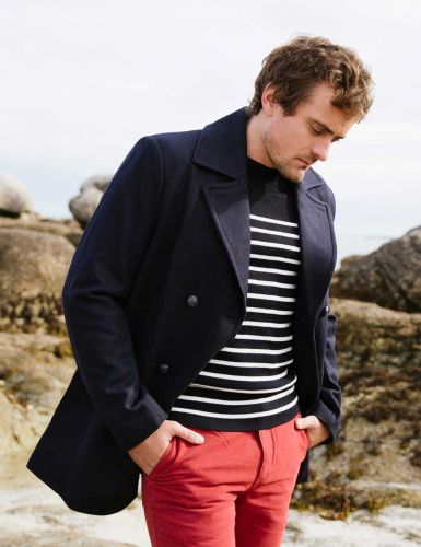 Art Décor: Authentic Men's Wool Peacoat/Reefer Jacket, Navy Blue