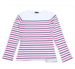 Multi Stripe Breton Top, White/Navy/Pink