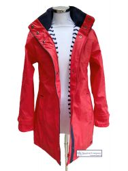 Women's Lined Raincoat with Hood, Watermelon Red