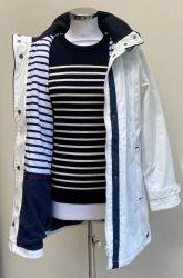 Women's Winter Lined Raincoat with internal fleece, White