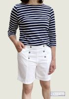Women's Sailor Shorts, White Cotton