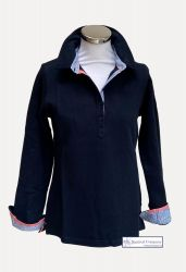 Women's Long Sleeved Polo Shirt, Navy Blue